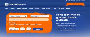 Hostelworld.com Home Page
