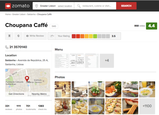 Example of a restaurant in Lisbon. Source: zomato.com/portugal